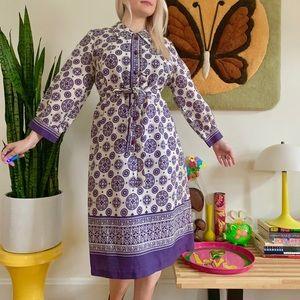 Vintage 60s psychedelic geo print dress L